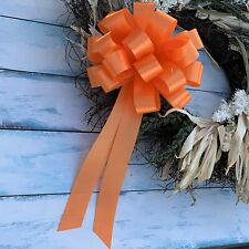 """Orange Pull Bows with Tails - 8"""" Wide, Set of 6, Halloween, Fall, Easter, Decor"""
