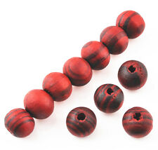 100 Pcs RED Wood Spacer Loose beads Bracelets Necklace findings charms 8mm