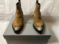 BALENCIAGA  Santiag harness suede Western boots Light Brown NWT $1390 Sz.44