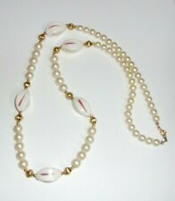 Vintage Beautiful Necklace With Faux Pearls & Pottery Beads