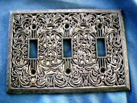 1 Ornate Floral Silver Tone Plated Metal Electrical Light Switch Plate Cover