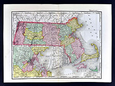 1895 McNally Map - Massachusetts - Boston Plymouth Cape Cod Salem Worcester