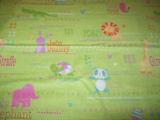 Tiny Animals on Bright Green Background - Snuggle Flannel Fabric Remnant