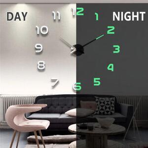 Wall Clock DIY 3d Modern Large Deco Mirror Sticker Home Surface Art Watch 2021🔥