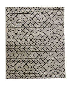 Handmade Scandinavian Wool Kilim Cream Carpet Black Geometric Area Rug 182x233cm