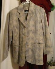 S Mens Terry Lewis Classic Luxuries Leather Coat Jacket Button Reptile Beige