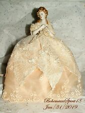 Antique China porcelain Germany Half A Doll  Lace Pearls dress Lamp Shade