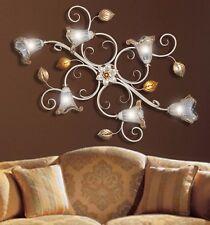 lampadario plafoniera ferro battuto 6 Luci vetri murano camera da letto salone