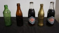 5 vintage mixed soda pop bottles lot 7up, Coke, indiana brewing co rootbeer