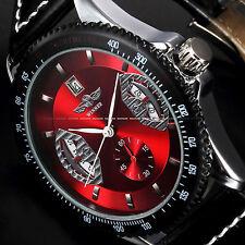 U.S.A Mens Fashion Red Automatic Mechanical Date Black Leather Sport Wrist Watch