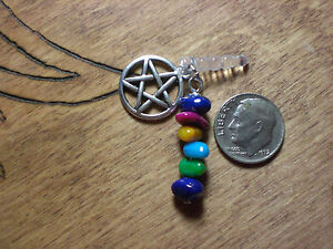 Wicca Pagan Pentagram Pentacle Goddess Polished Stone Chips Cell Phone Charm