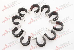 10PCS 304 Stainless Steel Cushioned Hose Mounting Clamp Loop Strap Black