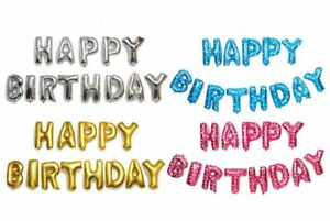 """16 Inch Foil Balloons """"HAPPY BIRTHDAY"""" Letter Collection 4 Colors"""