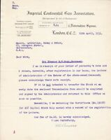 IMPERIAL CONTINENTAL GAS ASSOCIATION, London 1931 Re Certificate Letter Rf 46078