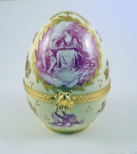 New French Limoges Trinket Box Courting Scene & Angels Painting Large Egg
