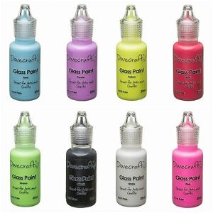 Glass Paints by Dovecraft. 3 for 2 Offer. Pink, Red, Green, Black, Purple, Blue