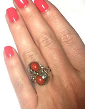 GORGEOUS NATIVE AMERICAN NATURAL PINK OVAL CORAL HANDMADE LADIES RING SIZE 5 3/4