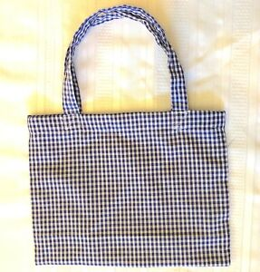 New Handmade Reusable Fabric Cloth SMALL TOTE BAG: Gift, Book Lunch BLUE GINGHAM