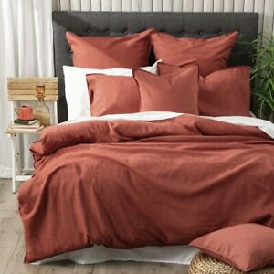 Renee Taylor Cavallo 100% French Linen Quilt Cover set- Paprika