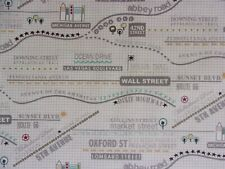 New listing Famous Streets/RoadsonBeigeCotton Quilting Fabric byModa-1 Yrd