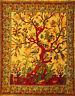 XL Orange Rot Baum des Lebens Natur Vögel Bett Überwurf Tagesdecke Wandbehang