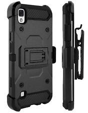 LG Tribute HD / Volt 3 / X Style - Black Hybrid Holster Case Cover + Belt Clip