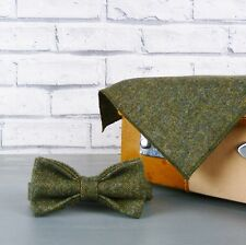 Yorkshire Birdseye Tweed Bow Tie and Pocket Square - Dark Green
