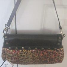 LEOPARD MESH/LEATHER Whiting & Davis Purse/Handbag~Soft BROWN Leather~NWT