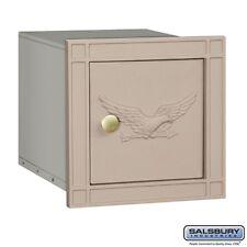 Salsbury Cast Aluminum Column Mailbox - Non-Locking - Eagle Door - Beige-MAILBOX