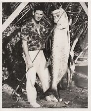 Ted Williams 1950 Type 1 Original Photograph - Beautiful Fly Rod Tarpon Catch