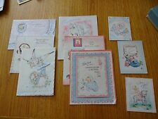 9 DIFFERENT VINTAGE GREETING CARDS USED NEW BABY CARDS