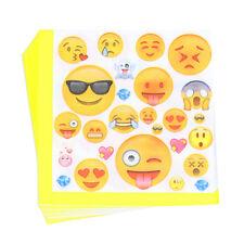 20 x Emoji Yellow Napkins Kids Happy Birthday Party