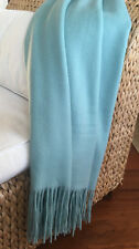 Pur Cashmere Signature Waterwave Throw Blanket with Fringe; Color: Spa