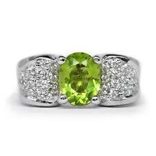 9x7mm Natural Green Peridot Ring With White Zircon in 925 Sterling Silver