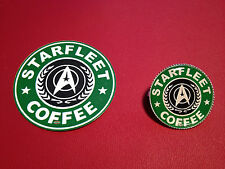 STAR TREK, `STARFLEET COFFEE` SILVER PLATED BADGE &  FREE PHONE STICKER