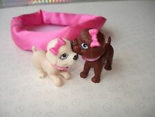 Barbie Doll Accessories - Puppy Dogs with Magnetic Bobbing Moving Heads & Basket