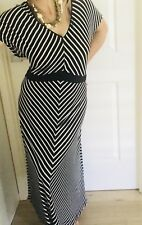 LEONA PLUS BY LEONA EDDMISTON WOMENS DRESS STRIPED LONG BLACK WHITE SZ S