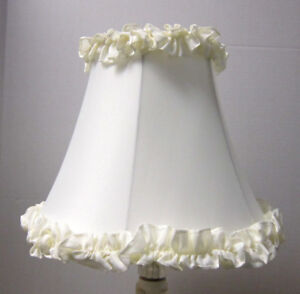 "New OFF WHITE RUFFLE Table Lamp Shade 6""x 12""x 9.5""h softback full frame lined"