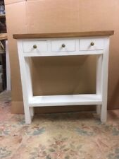 H80 W80 D22cm BESPOKE CONSOLE HALL TABLE 3 DRAWER CHUNKY LEGS PAINTED WAXED TOP