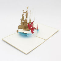 Creative 3D Hollow Knight Castle  Greeting Cards Paper Card For Christmas Wish D