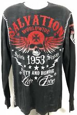 Raw State Premium Affliction Men's Shirt Salvation Saints Sinner Live Free Sz XL