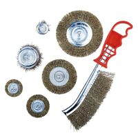 7pc HEAVY DUTY WIRE BRUSH SET WHEEL CUP FLAT METAL CLEANING RUST SANDING DRILL
