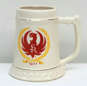 Ruger Firearms 1977 Collectors Ceramic Beer Stein Mug Cup Gold Trim Logo
