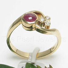 14k Yellow Solid Gold Genuine Diamonds, Cabochon Natural Red Ruby Ring TPJ
