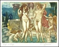 David Bekker 2002 Exlibris C4 Adam and Eve Erotic Erotik Nude Angel Amor 798