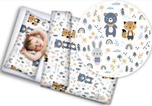 Sistema del lecho del bebé 3PC Almohada Edredón PARACHOQUES ajuste cotbed 140x70cm Gris Estrellas En Blanco