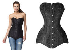 Plus Size Black Jacquard Steel Boned Overbust Long Line Corset - 26 Steel Bones