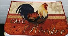 """PRINTED NYLON RUG (nonskid back) (17"""" x 28"""") RED CAFE ROOSTER, D Shape by BH"""
