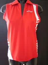 Carlton Girls Badminton Red Sleeveless Shirt Top Aeroflow Size Age 12 /14 NEW