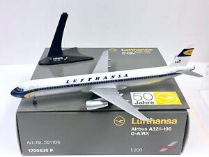 Herpa Wings Lufthansa 50 Jahre Airbus A321-100 1:200 D-AIRX 551106 *Plastic*